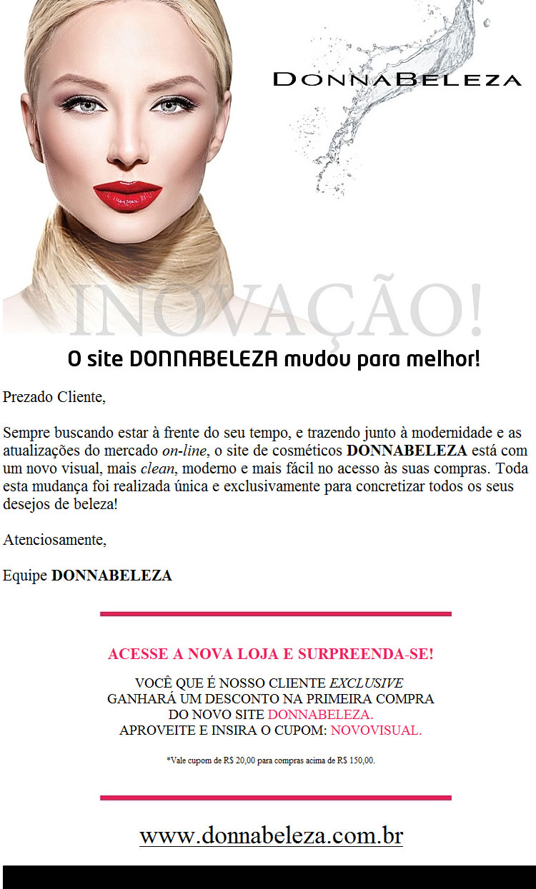 envio e gestao de email marketing - ecommerce DonnaBeleza